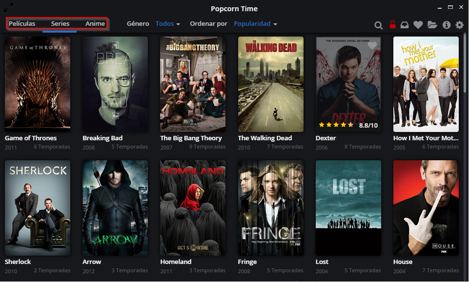 Descarga peliculas y series gratis [Popcorn Time]