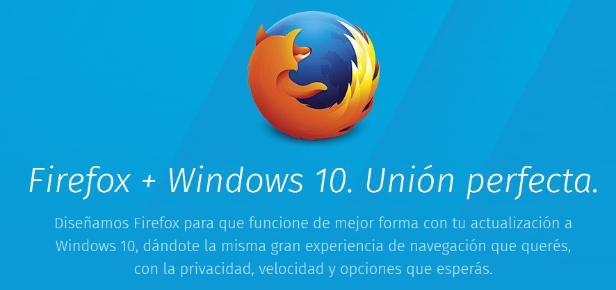 Está disponible Mozilla Firefox, adaptada para Windows 10