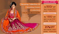 Pavitraa Fashion special offers of wedding sarees, Lehenga style Sarees, Lehenga Choli and Party Wear Sarees in three best offer...