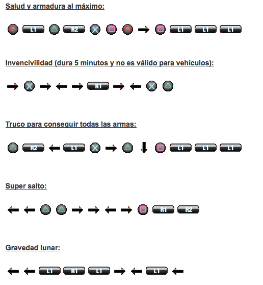 claves gta 5 ps4